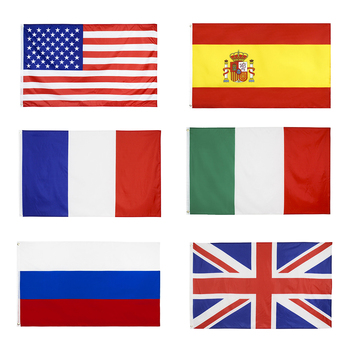 90*150cm USA National Flag Russia Italy UK Spain Hanging Flags Office Activity Parade Festival The World Cup Decoration Banner image