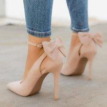 LOSLANDIFEN Women's Pumps Pointed Toe Bowknot 11cm Thin Heels Sexy Ankle Strap High Women Shoes Female Wedding Stilettos