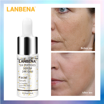 LANBENA Six Peptides Serum 24K Gold Anti-Aging Wrinkle Whitening Moisturizing Acne Treatment