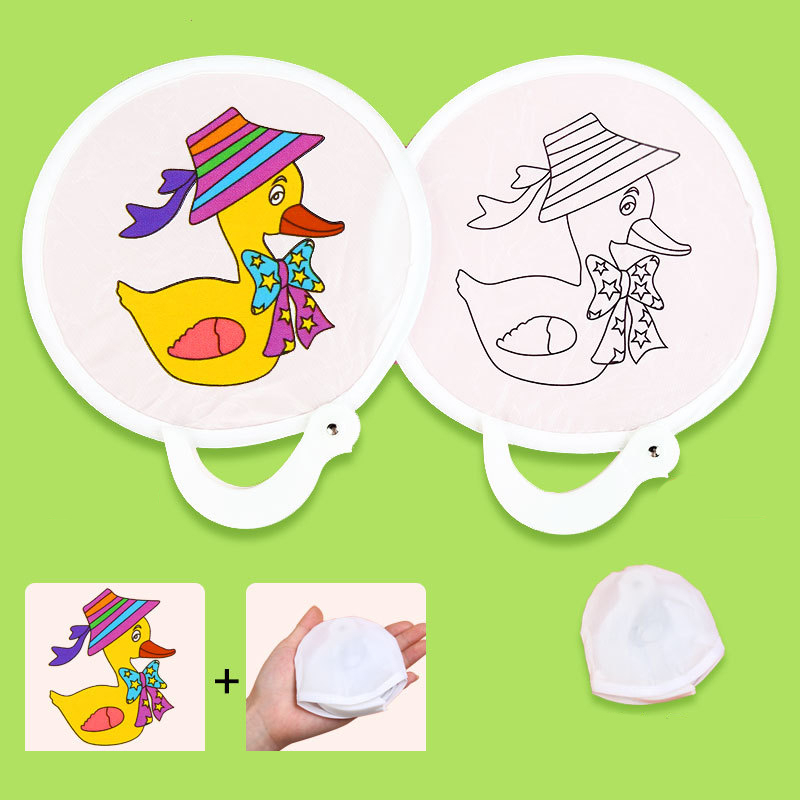 24cm Foldable Carry DIY Graffiti Fan Toys For Children Painting Ancient Round Fan With Line Draft Arts Craft Girl Gift 2020 NEW