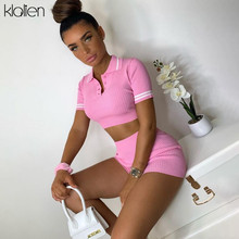 KLALIEN streetwear leisure knitted top and shorts two piece set