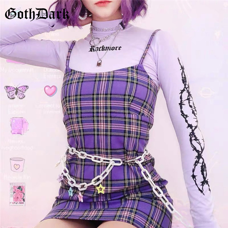 Goth Dark Purple Sexy Plaid Mini Dress Summer 2020 Backless Patchwork Off Shoulder Party Women Dress Bodycon Vestido Vintage Emo