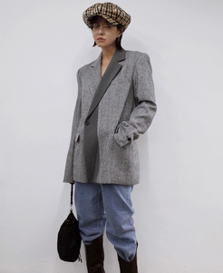 Image 2 - CHEERART Wool Blazer Designer Coat Women Blazers And Jackets Grey Patchwork Ladies Long Blazers Fashion Coat Autumn 2019