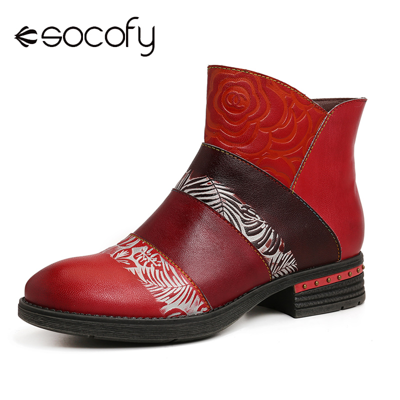 SOCOFY Retro Embossed Rose Genuine Leather Irregular Casual Shoe Mouth Romantic Splicing Boots Women Shoes Botas Mujer 2020
