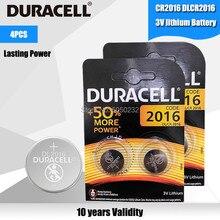 4 pçs original para duracell cr2016 botão pilha bateria 3v baterias de lítio para relógio brinquedo computador calculadora controle dlcr 2016