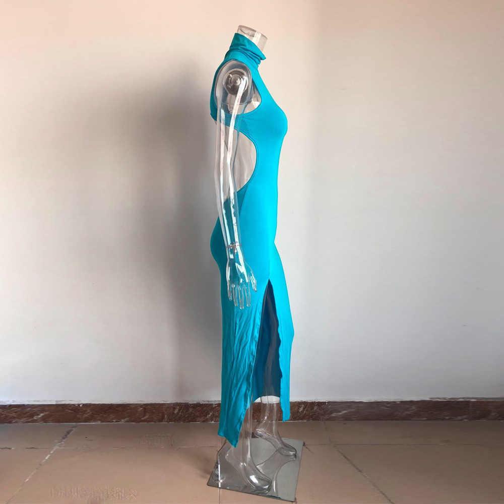 KGFIGU kobiety wysoka neck maxi długa sukienka sexy party klub podział backless sukienki niebieski szata vestidos odzież festiwal