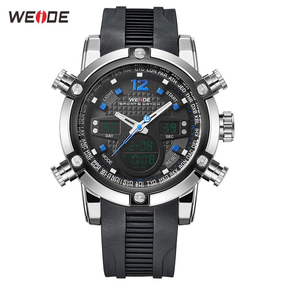 WEIDE Men Watch Relogio Masculino Men Watch Date Alarm Back Light Time Zone Quartz Relojes Watch Men Digital Wrist LCD Men Watch