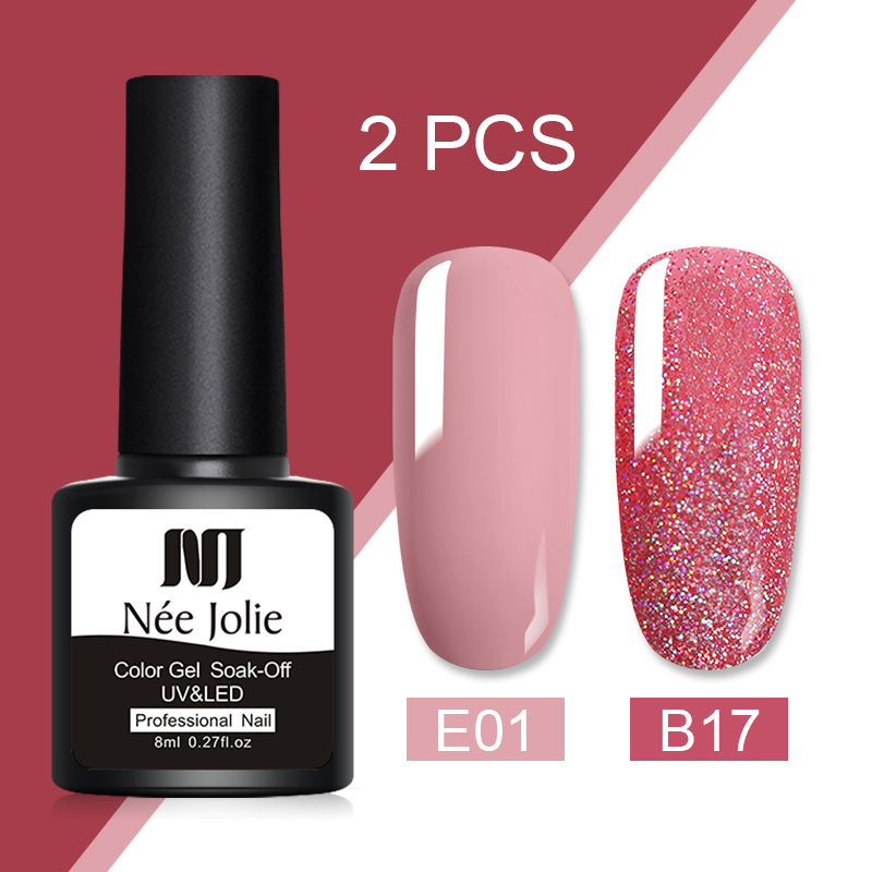Nee Jolie 8ml 2 Bottles/set Pure- Color Nail Gel Nail Soak Off UV Nail Art Gel Polish Semi Permanent Nail Varnish Sequins Gel