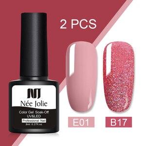 Nee Jolie 8ml 2 Bottles/set Pure- Color Nail Gel Nail Soak Off UV Nail Art Gel Polish Semi Permanent Nail varnish Sequins Gel(China)