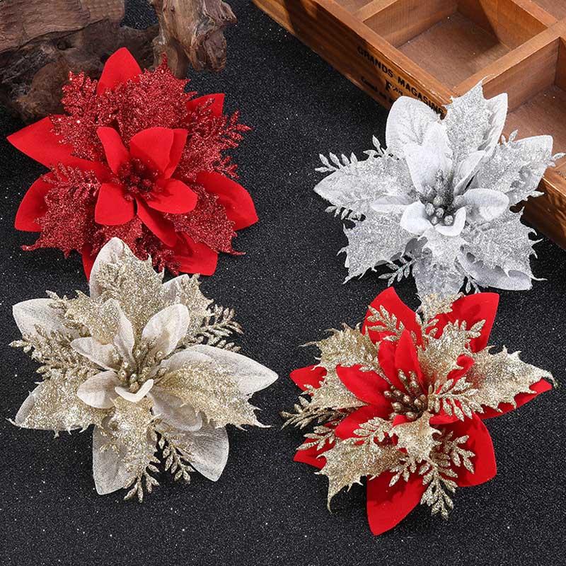 6 pçs glitter flores de natal flores artificiais feliz natal decorações da árvore para casa enfeites de natal decoração de festa de ano novo