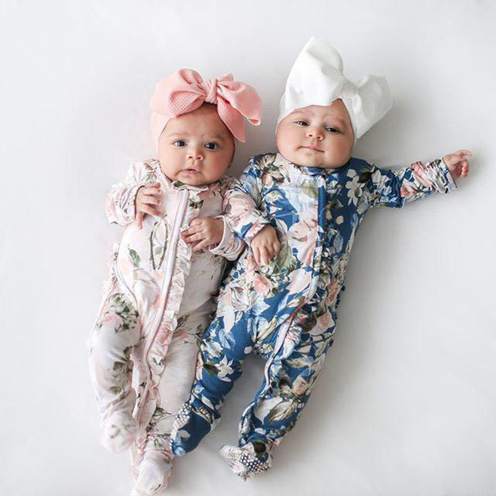 Romper Headband Outfits-Set Jumpsuit Sleeper Footed Newborn Baby-Girl Infant Autumn Winter