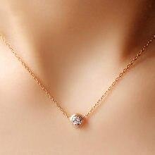 Simples pingente redondo colar popular cristal rosa ouro moda clavicular corrente jóias atacado