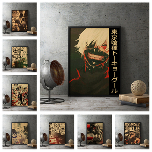 Family wall art decoration Japan high popularity anime Tokyo Ghoul old style poster retro style Home decoration poster o23