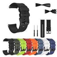 Per Garmin Fenix/Fenix 2 cinturini Easy Fit 26mm larghezza cinturino in Silicone morbido Smartwatch cinturino di ricambio di alta qualità nero