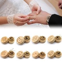 DIY hecho a mano Vintage boda decoración redonda joyería Cajas de almacenamiento 5,2*4,2 cm collar pendientes contenedor 1 caja de madera anillo