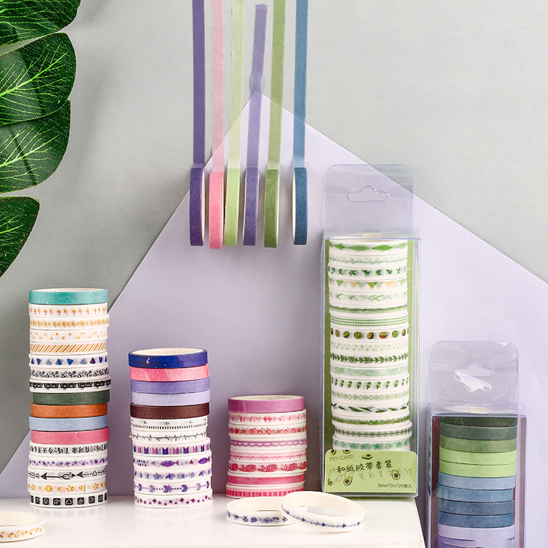 20 Pcs/lot Color Aesthetics Series Color Slim Washi Masking Tape Set Paper Stickers Scrapbooking Stationery Decorative Tape