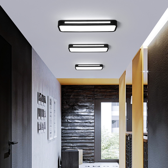 Modern Simple LED Ceiling Light Black Or White Balcony Porch Long Surface Mount Ceiling Lamp Cloakroom Corridor Panel Fixtures