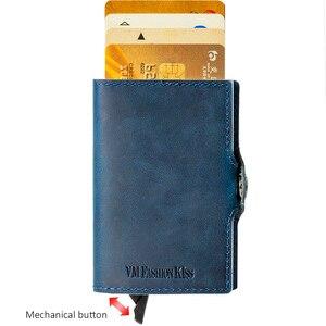 Image 3 - VM FSAHION قبلة جلد طبيعي RFID حجب بساطتها محافظ التلقائي المنبثقة البسيطة بطاقة محفظة جلدية بطاقة محفظة Cardholde