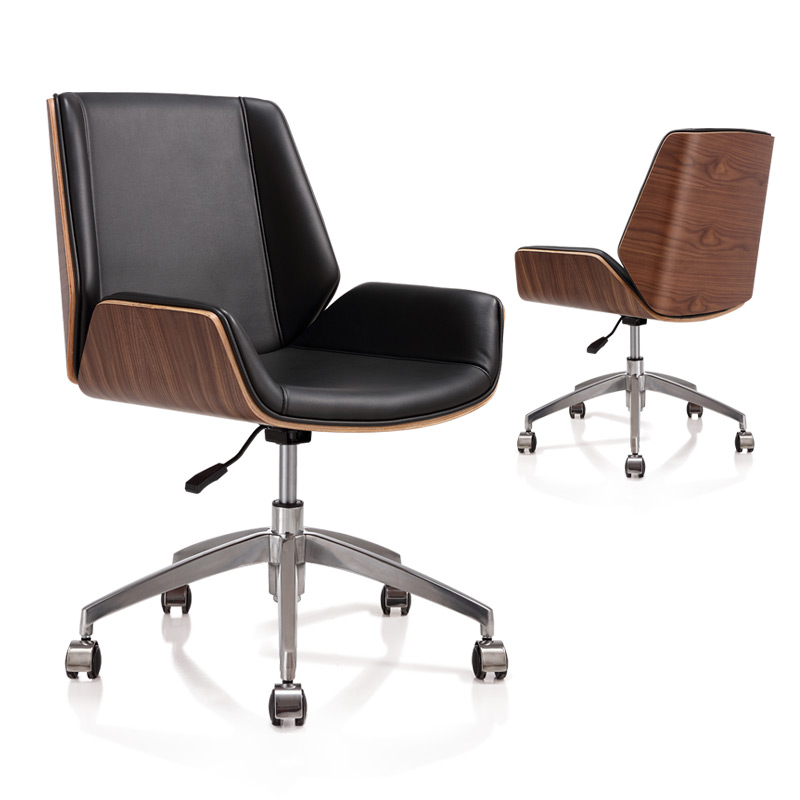 Mid Back Bentwood Swivel Office Computer Chair Pu Leather Office Furniture For Home Conference Mid Century Adjustable Armchair Office Chairs Aliexpress