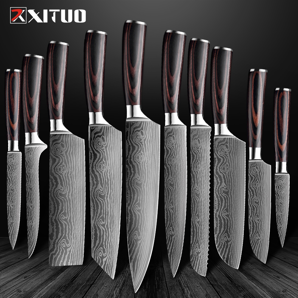 XITUO Knife Chef-Knives Slicing Cleaver Stainless-Steel Utility 7CR17 Sharp Santoku 8--Inch