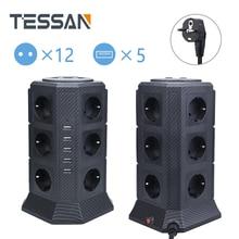 TESSAN EU Plug Power Streifen Turm Mit 12 AC Outlets 5 USB Ports 2M/6,5 ft Verlängerung Kabel, 110V zu 220V Steckdose Überlast Schutz
