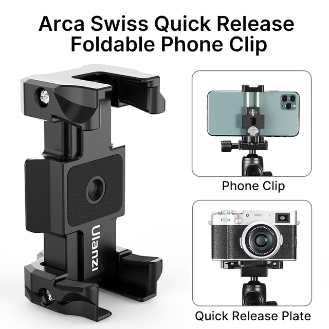 Ulanzi ST 15 Arca Swiss Quick Release Plate Foldable Phone Clamp Holder 2 in 1 Design With Cold Shoe 1/4 Screw Tripod Mount