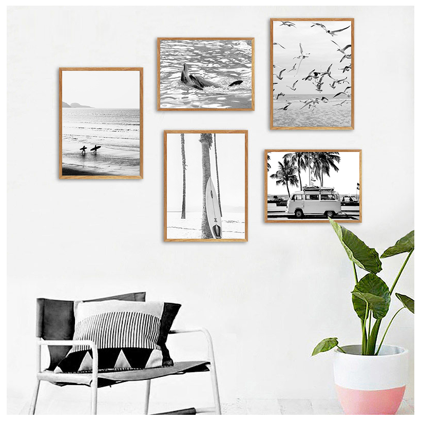 Surf Poster California Wall Art Black and White Ocean Print Beach  Canvas Painting Surfing Coastal Decor for Living Room