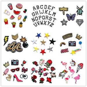 Image 1 - (30 Differents Packs können Wählen) Stickerei Parches Eisen auf Patches für Kleidung DIY Streifen Kleidung Aufkleber Appliques Abzeichen