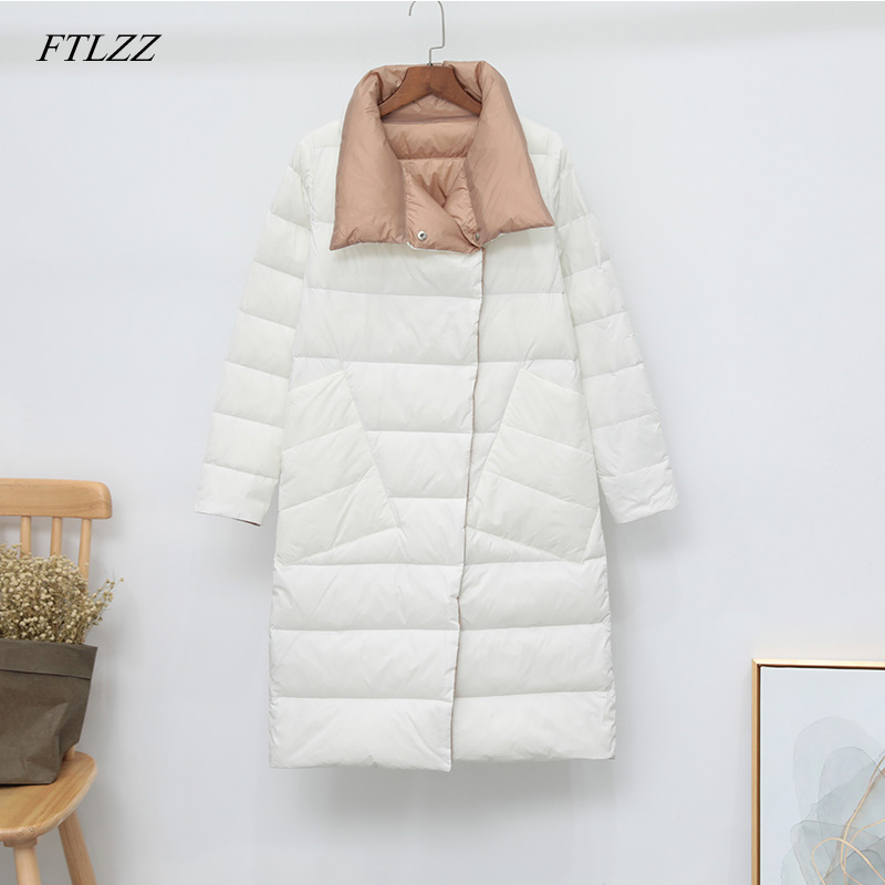 FTLZZ Winter Women Double Sided 90% White Duck Down Coat Ultra Light Turtleneck Long Female Outwear Warm Parkas Snow Parkas