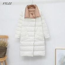 FTLZZ Winter Women Double Sided 90% White Duck Down Coat Ult