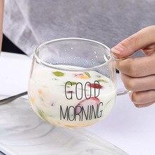 F165 утолщение прозрачный высокий боросиликатный цветок сосуд приносить держать завтрак молоко чашка может микроволновая печь Подогрев прозрачный