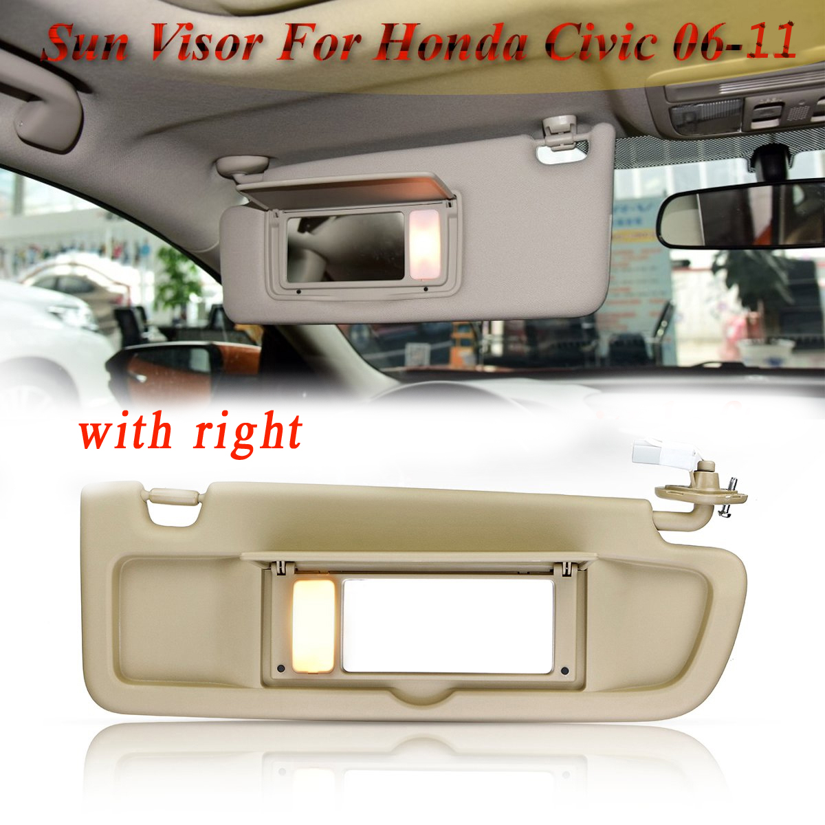 Car Side Sunvisor Sunshade Sun Shield Antidazzle Visor Without Light For <font><b>Honda</b></font> For <font><b>Civic</b></font> For Coupe Sedan 2006 <font><b>2007</b></font> 2008 2009-11 image