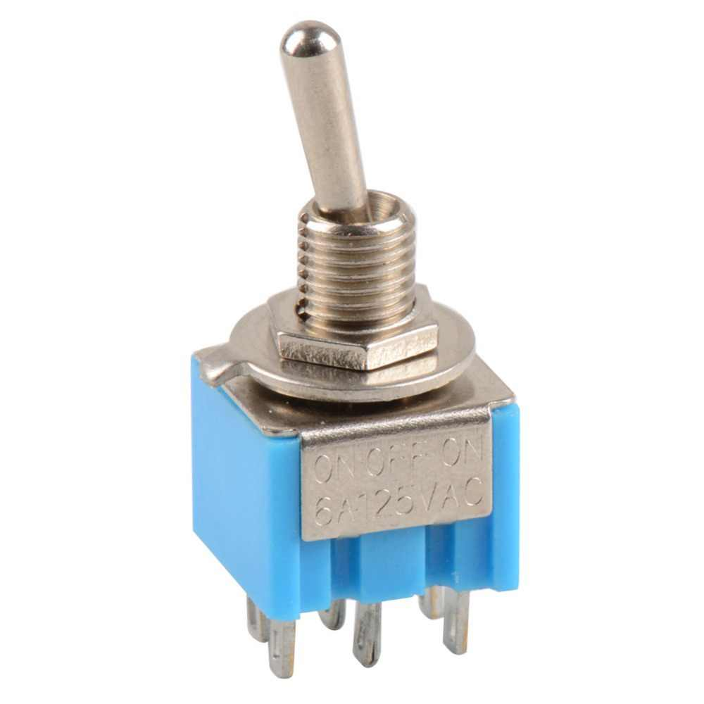 High Quality New Mini Blue 6-Pin DPDT ON-OFF-ON Toggle Switch 6A 125V AC VE309 P0.11
