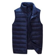 Новое поступление, мужская куртка без рукавов, зимний ультралегкий жилет на белом утином пуху, мужской тонкий жилет, мужской ветрозащитный Теплый жилет