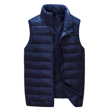2018 New Arrival Men Sleeveless Jacket Winter Ultralight White Duck Down Vest Male Slim Vest Mens Windproof Warm Waistcoat cheap JUNGLE ZONE STANDARD JUNGLE ZONE 002 Casual zipper Solid Denim NONE Pockets Zippers Acetate Short Polyester 100g-150g 0 33kg
