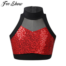 Kids Girls Shiny Sequins Sleeveless Mesh Splice Back Zipper Tanks Tops Crop Top for Dancing Stage Performance Workout