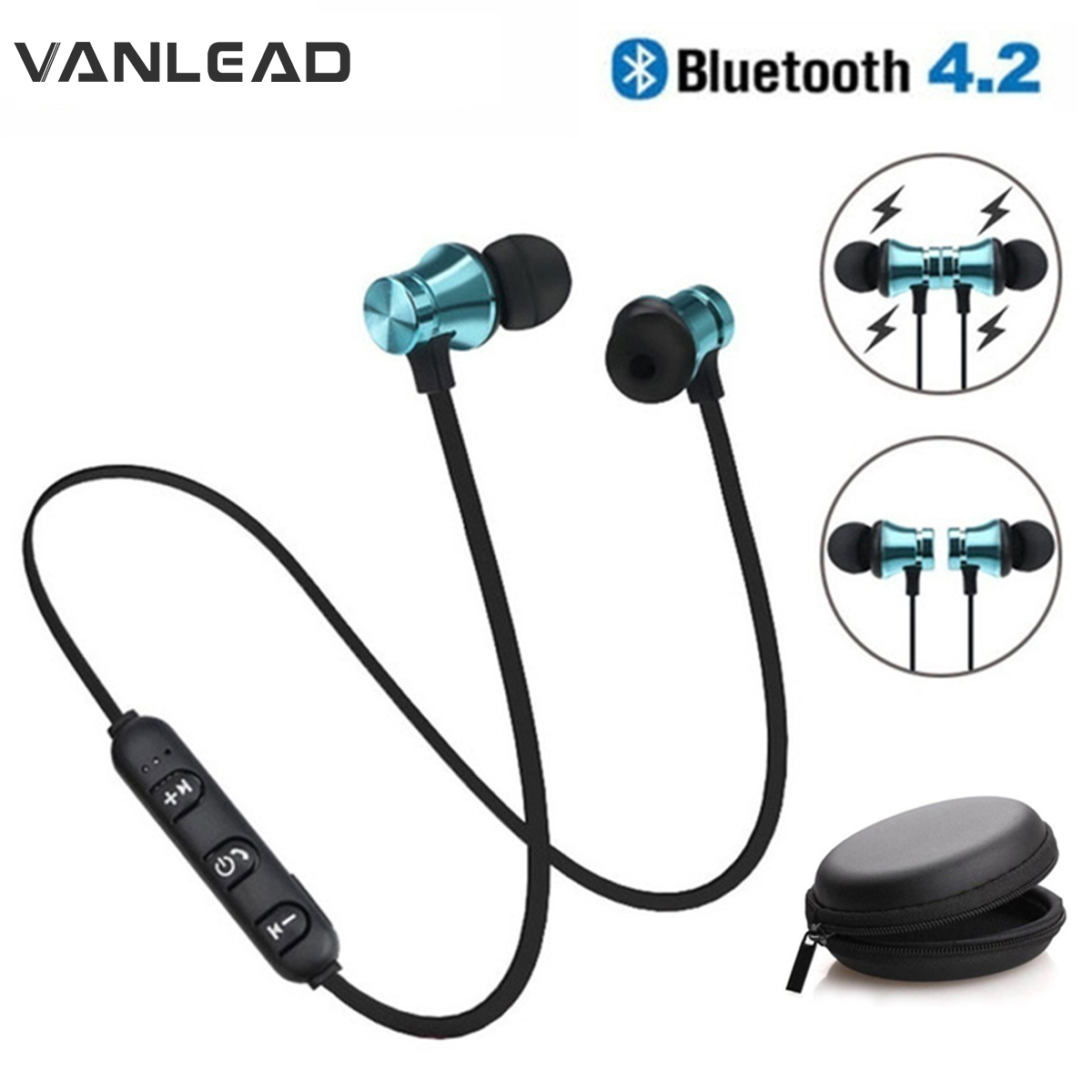 Magnetic Wireless Bluetooth Earphone In-Ear With Mic Sports Waterproof Music Earplugs Gift Headset For IPhone 6s Plus Samsung 8