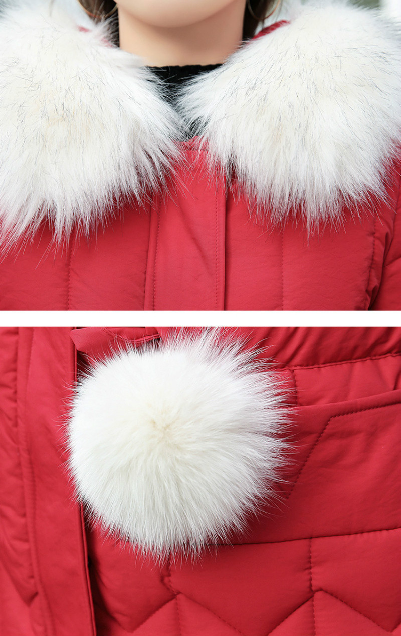 Plus size winter coat women padded cotton hooded women long jacket outwear slim white warm vintage female parka new 2019 DR1195 (5)