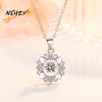 NEHZY 925 Sterling Silver New Woman Fashion Jewelry High Quality Retro Simple Crystal Zircon Flower Rotating Necklace Pendant - discount item  40% OFF Fine Jewelry