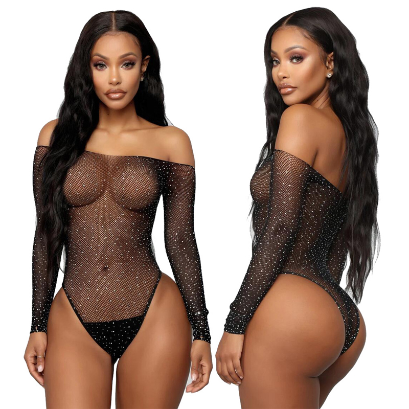 Lingerie Bodysuit Women One Piece Long Sleeve Off Shoulde Fishnet Top With Rhinestones Mesh Tights Black Sexy Body Femme