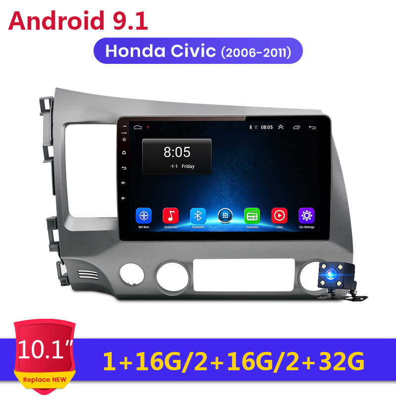 "Android 9.1 10.1 ""2Din Auto Radio Head Unit WiFi Stereo Autoradio GPS 2 Din Multimedia Speler voor 2006 2007 2008-2011 Honda Civic"