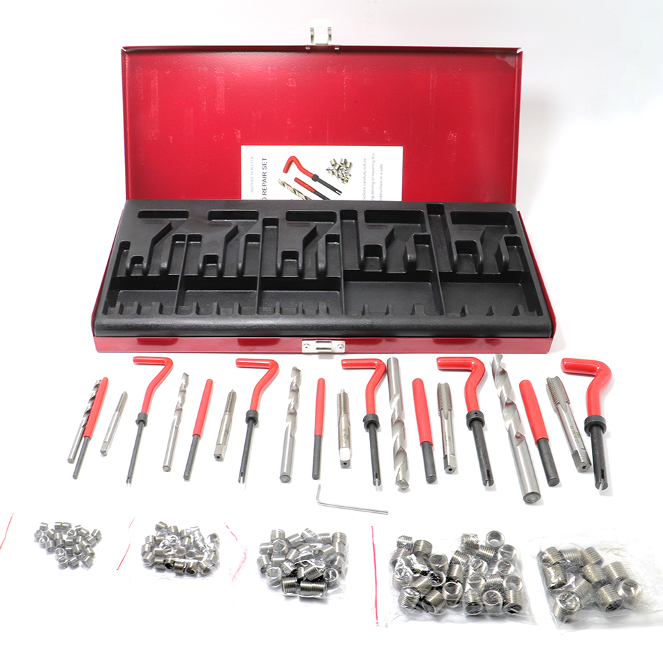 131pcs Engine Block Thread Repair Tool Kit M5/M6/M8/M10/M12 Restoring Damaged Professional Car Repair Tools Coarse Crowbar