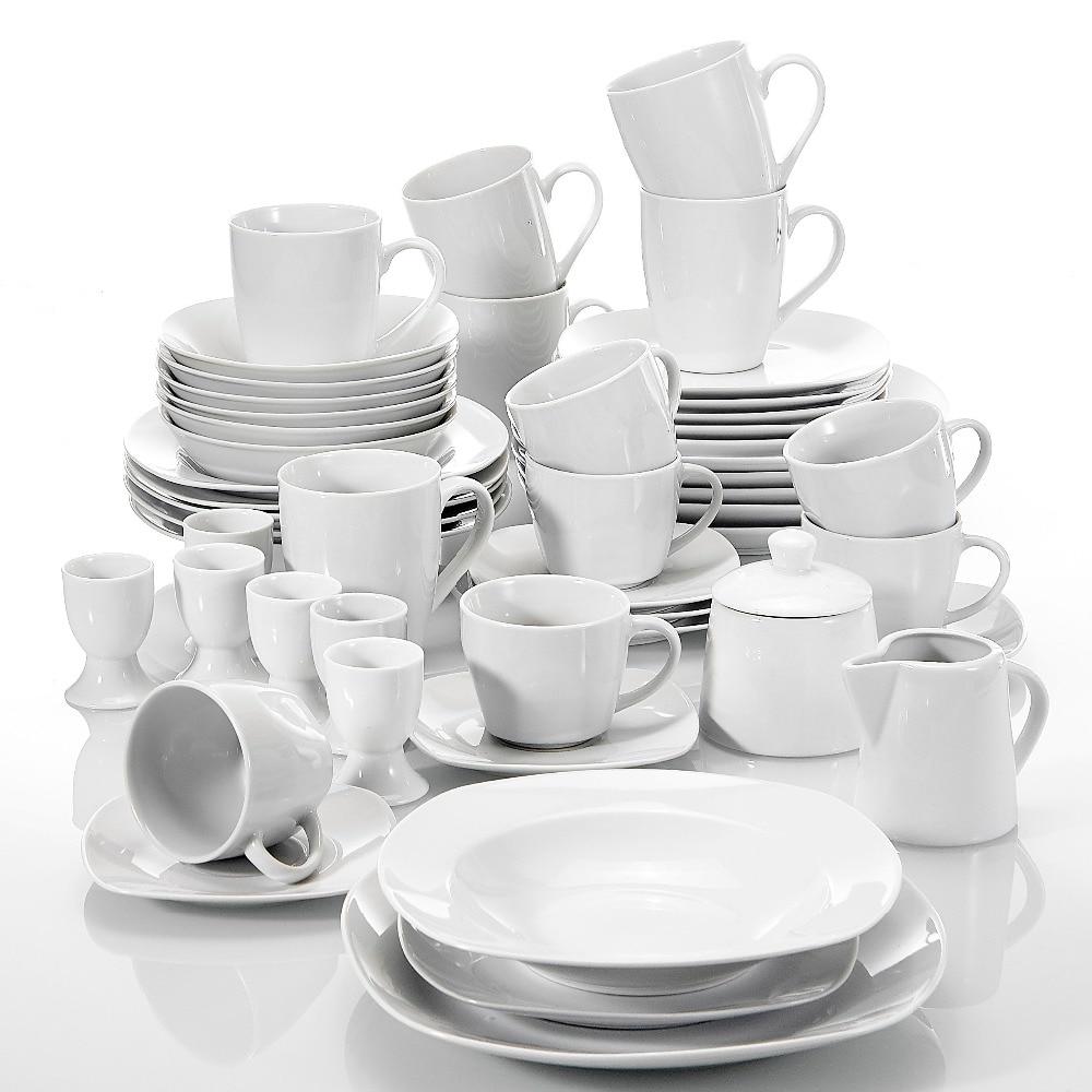 MALACASA Series Elisa 50 Piece Dinner Set with 6 Cups, Saucers, Mugs, Egg Cups, Cereal Bowls, Dessert Soup Dinner Plates Service