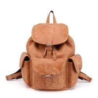 For Women Men School Bags Fashion Backpacks Genuine Leather Drawstring Large BagPack Travel BagVintage Women Men Backpack