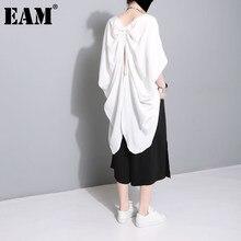 EAM-camiseta negra con cordón Irregular para mujer, ropa de talla grande con cuello redondo y manga de tres cuartos, moda para primavera y otoño 2021, 1DD5124