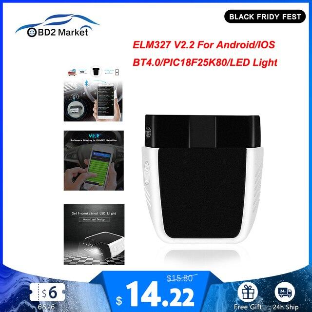 ELM327 V2.2 PIC18F25K80 ELM 327 V2.2 Bluetooth 4.0 dla androida/IOS OBD OBD2 diagnostyka samochodów Auto narzędzie obd2 kod skanera czytnik