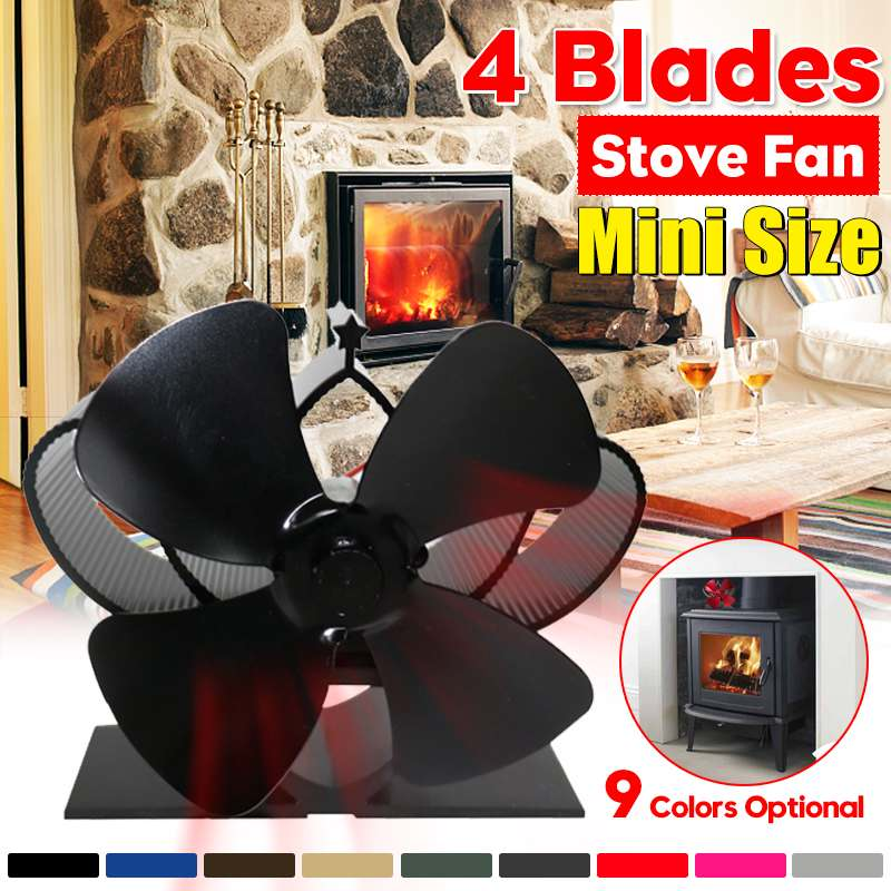 Professional 4 Blade Heat Powered Stove Fan Log Wood Burner Eco Fan Quiet Black Home Fireplace Fan Efficient Heat Distribution