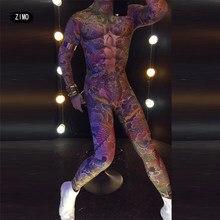 Tatuaż czaszki mięśni mężczyzna kobiet nagie body mężczyzna gość gogo moda wybiegu kombinezon z nadrukiem strój sceniczny taniec klub kostium rave