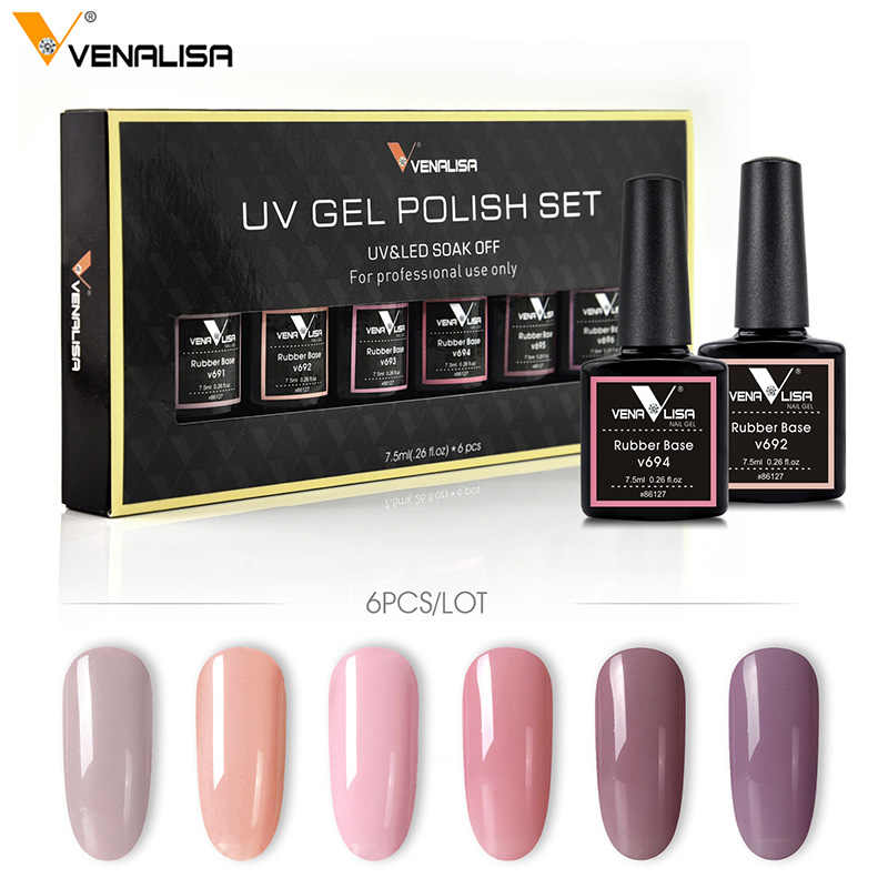 2019 Hot Menjual Venalisa Nail Art Set 7.5 M UV Cepat Kering Pernis Karet Base Coat Top Coat Warna Gel cat Kuku