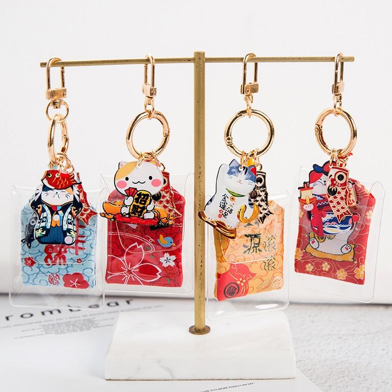 Японский стиль Lucky Cat Amulet брелки Bless With safety брелки милые омамори кулон Lucky Подвеска Брелки Прямая поставка|Брелоки|   | АлиЭкспресс